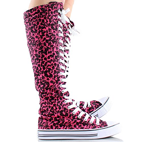 Knee High Woman Boots Tall Classic Canvas Sky High Lace up Stylish Punk Flat Sneaker Boots