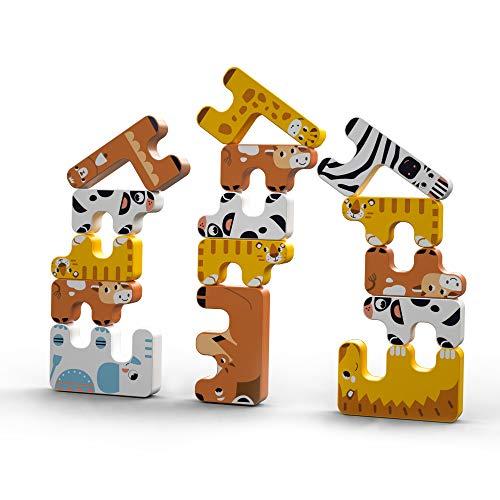 Juegos de apilamiento Juguetes para niños Montessori Animal Equilibrio Bloques Juegos Apilamiento Educativo pequeños Juguete de construcción Altos para 3-6 años Niños Bebés Adultos Niños Niñas 15pcs