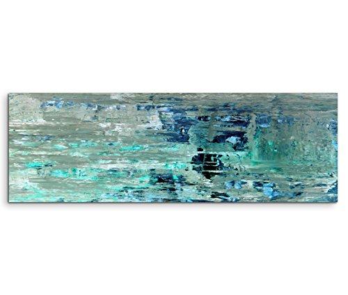 Leinwandbild 150x50cm Bild – Abstrakte Strukturen in Olive Türkis und Dunkelblau