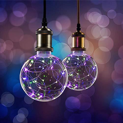 2 x XQ-lite LED Kupferkabel Globe G125 Starry 1,5W E27 klar bunt-farbig multicolor