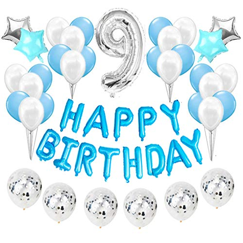 Feelairy 9 año Cumpleaños Globos Decoración Kit Azul, Happy Birthday Banner Globo Carta, Globos de Papel Aluminio Gigante Número 9 y Estrella Globos, Fiesta de Cumpleaños 9 para Niñas y Niños