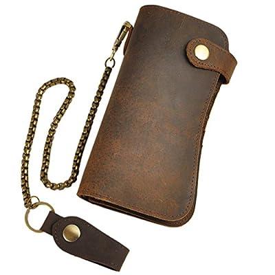 Le'aokuu Mens Genuine Leather Bifold Wallet Organizer Checkbook Wristlet Clutch Handbag (W1083 Dragon Coffee)