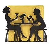 Ornami - servilletero de metal, soporte de mesa de tela decorativa, Negro