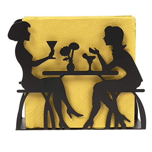 ORNAMI Metal Napkin Holder, Decorative Tissue Holder for Table (Dining Design, Black, 1)
