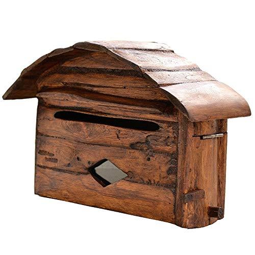 Subobo wandmontage brievenbus, Amerikaanse brievenbus muur brievenbus landelijke stijl Villa brievenbus hanger creatief hout bruin gemakkelijk te installeren