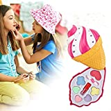 Waroomss – Juego de cosméticos para niños, kit de maquillaje lavable con caja para helado giratoria, Pretend Makeup Set for Girls – Juego de 9 piezas para el maquillaje