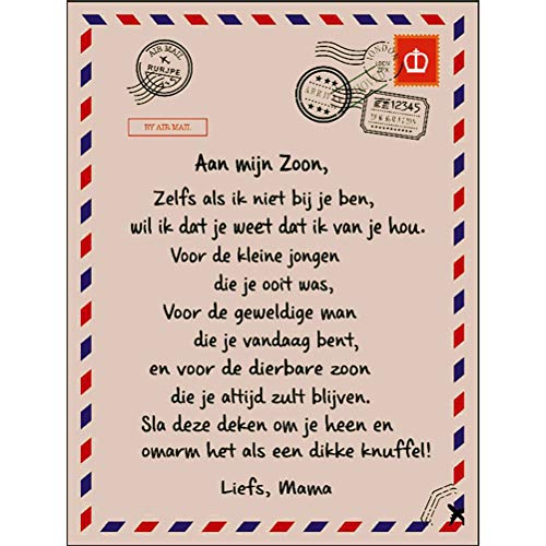 BSTQC Dutch Letters Blanket to My Son and My Daughter Soft Blanket Flannel Blanket Winter Warm Mail Blanket for Bedroom Living Room 51 x 59 Zoll