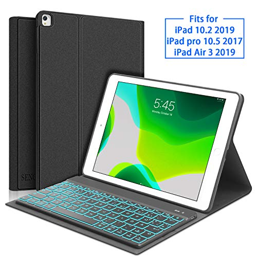 SENGBIRCH Tastatur Hülle für iPad 10.2 2019, Tastatur für iPad 7 Generation (QWERTZ Layout), Weich Schutzhülle Kompatibel mit iPad 10.2 2019/ iPad Air 3 2019/ iPad Pro 10.5 - Schwarz