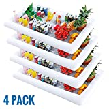 Kurala 4 PCS Inflatable Serving Bar, Salad Ice Tray Food Drink Containers, BBQ Picnic Pool Party Supplies Buffet Luau Cooler, with a Drain Plug