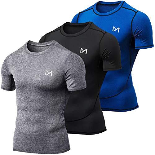 MEETYOO Maglietta Uomo, Maglia a Manica Corta Compressione T Shirt Sportiva per Corsa Ciclismo Fitness (Blu + Nero + Grigio, L)