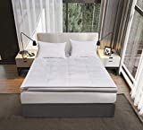 kathy ireland 233 Thread Count 3 inch White Down Fiber Top Featherbed Mattress Topper-(Full/Queen/King), Twin