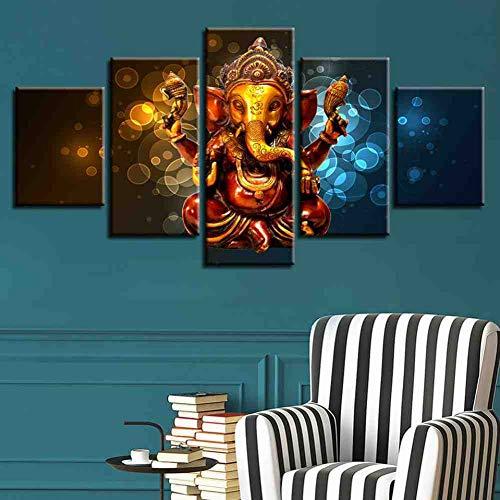 GIAOGE Modulare Poster Bilder Rahmen 5 Stücke Elefantenrüssel Gott Ganesha Leinwand Gemälde Decor Home Wohnzimmer Wand Hd Kunstdrucke