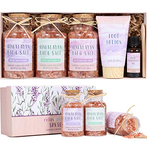 Pink Himalayan Bath Salt Gift Set with Rose Essential Oil & Moisturize Foot Lotion, Body & Foot Soak for Cleanse, Revitalize and Soothes Skin, Unique Relaxing Spa Gift for Women
