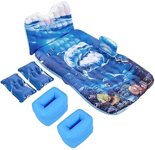 YYhkeby Inflable Portable del Aire del Coche colchón de la Cama Multifuncional Flocado Viajes Bed Torno al Aire Libre Camping de Playa Que Flota Cojín Acogedor, Azul Jialele