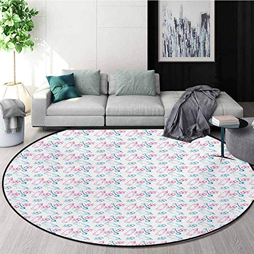 Check Out This Baby Rug Round Home Decor Area Rugs,Milk Bottles Pacifiers Rattles Pattern Hand Drawn...