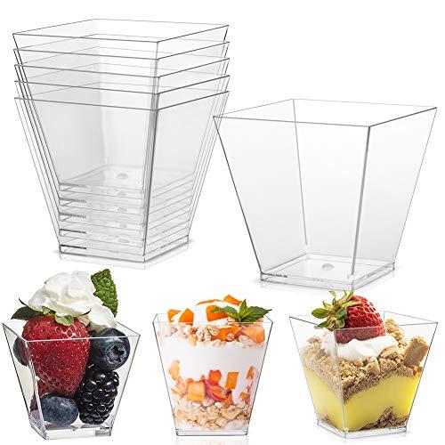 Vasos De Postre para Postre para Mousse LLMZ 50 PCS Vasos para Postre vasos de postre cuadrados para un poco de gelatina/fruta/batido, utilizado para fiestas, cumpleaños, té de la tarde
