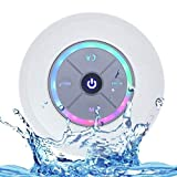 JUSTOP Rainbow LED Bluetooth Shower Speaker With FM Radio, IP67 Portable Fully Waterproof