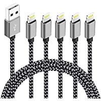 5-Pack Souina (3ft,3ft,6ft,6ft,10ft) High Speed Nylon Braided Certified iPhone Charger (Black+Grey)