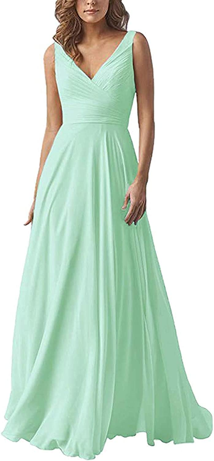 Fanciest V Neck Chiffon Bridesmaid Dresses Long Pleated Formal Dress for Women Evening Party Gowns with Pockets