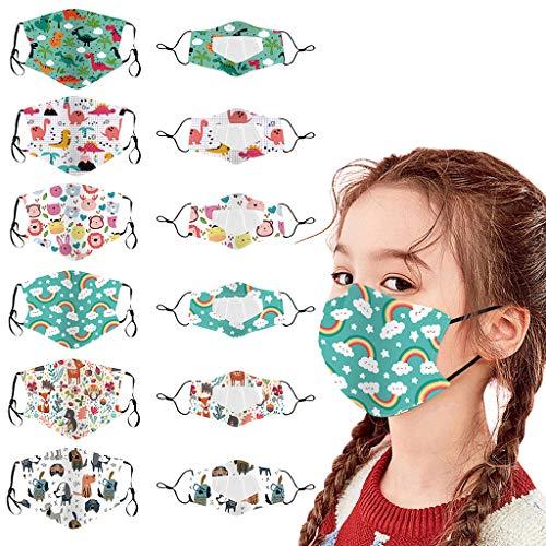 12 Stück Mundschutz mit Sichtfenster für Kinder, Lippen Mundschutz mit Motiv, Mund Nasenschutz Transparent Mundschutz Waschbar Mädchen Wiederverwendbare Mack für Outdoor, Camping