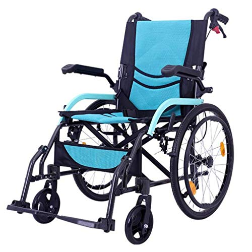 AOLI Wheelchair Manual, Quick Fold Lightweight Self-Propelled Aluminum Alloy Double Support Frame Non-Pneumatic Tire 3D Honeycomb Cushion Old Man Disabled Trolley Scooter