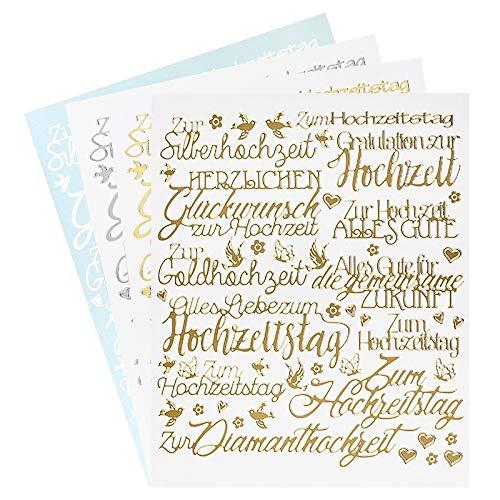 Ideen mit Herz Sticker Handlettering Art | Aufkleber | Verschiedene Schriftzüge zur Hochzeit, Liebe, Trauer, Weihnachten, Ostern UVM. | Jeweils 4 Bogen à 20 x 23 cm (Hochzeit)