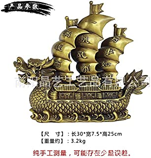 Liangliang988 Feng Shui - Decoración para Barco de dragón de Vela, decoración de Barco esculpido de Cobre, Carga Completa y sin Problemas