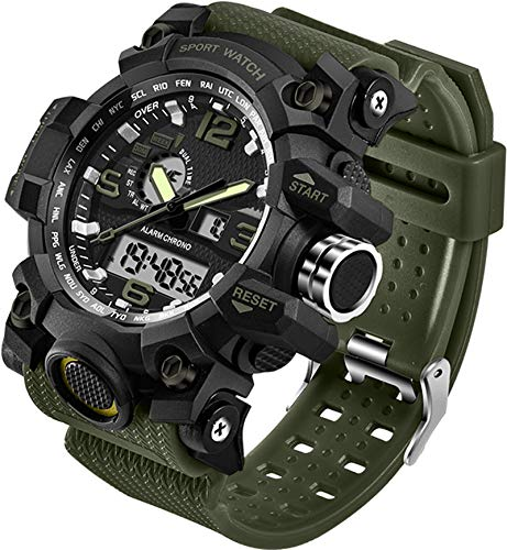 Relógios Masculinos Militar Esportes Eletrônicos LED Cronômetro Digital Analógico Dual Time Outdoor Relógio de Pulso Tático, Alicate de corrida, Verde
