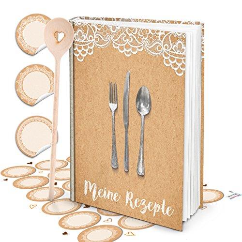 Cadeauset XXL receptenboek top vintage shabby om zelf te schrijven, mijn kookboek + hart kooklepel + 24 ronde keukenetiketten wit beige keuken koken DIY huwelijk Kerstmis verjaardag