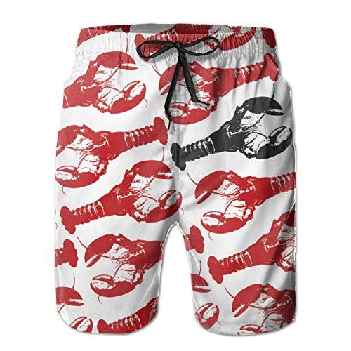 yting Hummer Hummer Schwarzer Hummer Herren Badehose Quick Dry Badeanzug Sommerurlaub Strand Shorts mit Taschen,Größe XXL