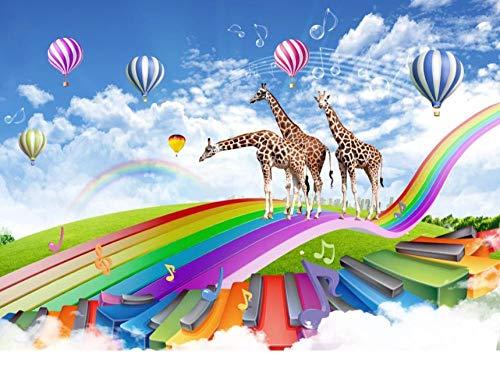 Fotobehang 3D regenboog-giraffe wandafbeeldingen vliesbehang wandbehang wandschilderij Wall Mural Wallpaper modern design wanddecoratie voor slaapkamer woonkamer kinderkamer 200 x 140 cm.