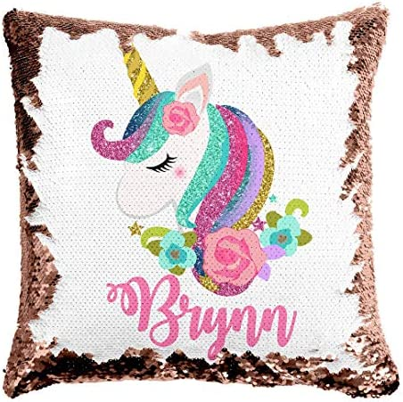 Custom Unicorn Reversible Sequin Pillow Personalized Gifts for Girls Mermaid Pillow Kids Throw product image