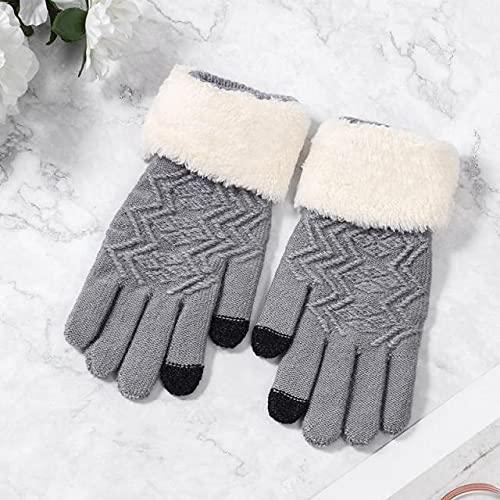 Guantes elásticos Suaves cálidos para Todos los Dedos engrosados con Pantalla táctil de Invierno para Mujer - Gris, tamaño Libre