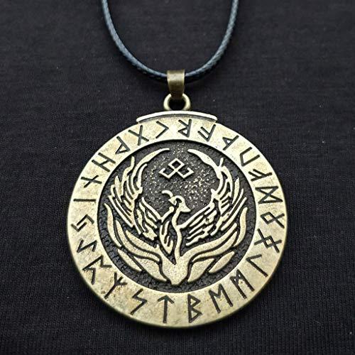 SBRTL Viking Legend Phoenix Firebird Rune Pendant Necklace Retro Ms. Men's Rune Ornament Wax Rope,Retrocopper