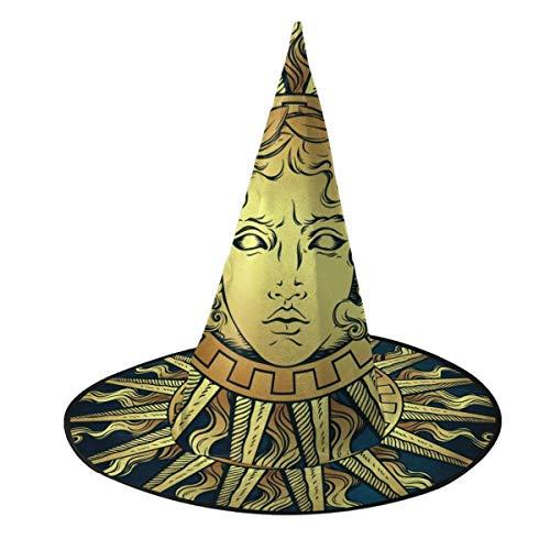 TABUE Disfraz de Halloween Sombrero de Bruja Sol con Rostro del Dios Griego y Romano Apolo Mago Gorros con Luces Accesorio de Disfraces para Cosplay Fiesta de Halloween