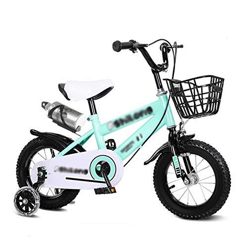 """M-YN Bicicleta Niños con Ruedines Los niños niños de la Bici de la Muchacha del Muchacho en tamaño 12"""" 14"""" 16"""" 18"""" con estabilizadores, Botella de Agua y Cesta, Verde ( Size : 12inch )"""