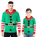 Noroze, maglione natalizio da uomo con cappuccio, design elfo Hoho con motivo bastoncino Candy Cane 3D, lavorato a maglia, per ragazzi, per il Natale in famiglia Elf Candy Cane Verde L