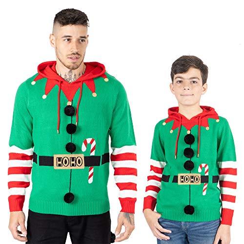 Noroze, maglione natalizio da uomo con cappuccio, unisex elfo Hoho Candy Cane 3D, lavorato a maglia, per bambini, per la famiglia di Natale Elf Candy Cane Verde M