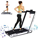 ANCHEER 2 in 1 Smart Folding Treadmill, 2.25HP Under Desk Treadmill, Electric Portable Space Saving Fitness Motorized Walking Running Machine with Bluetooth Audio Speakers (Silver Grey)