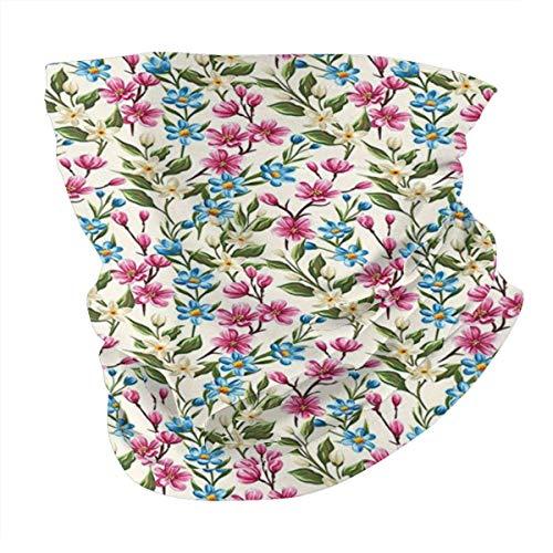 Q&SZ Sweatshirt Outdoor Headband Flower Decor Shabby Chic Floral Buds Leaves Ivy Like Garden Decor Design Art Print Es Pink and Blue Scarf Neck Gaiter Face Bandana Scarf Head Scarf