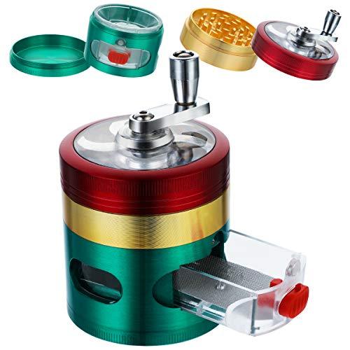 BFACCIA Gewürzmühle, Grinder Crusher, Metall Grinder Salzmühle Pfeffermühle für getrocknete Gewürze, Tabak, Kräuter, Spices, 12+24 Doppelkeil-scharfe Metallschleifzähne (Trikolore)