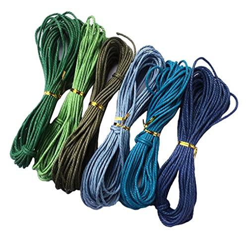 Yourandoll Cordón de algodón encerado, 6 colores, 2 mm x 10 m, para manualidades, pulseras, collares, fabricación de joyas (color 1)