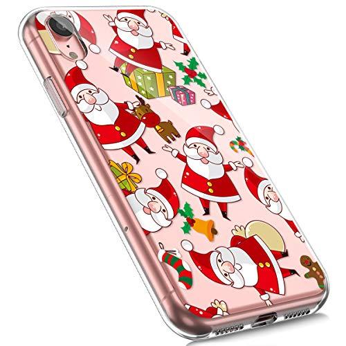 MoreChioce kompatibel mit iPhone XR Hülle,kompatibel mit iPhone XR Handyhülle, Durchsichtig Silikon Etui Christmas Weihnachten Schneeflocke Hirsch Muster TPU Gel Bumper,Weihnachtsmann,EINWEG