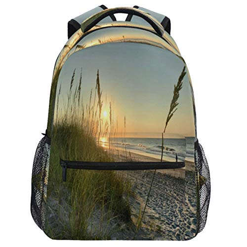 Mouthdodo Sunrise Dunes Sea Grass Beach Ocean Backpack Bookbag Daypack Travel Hiking Camping School Laptop Bag