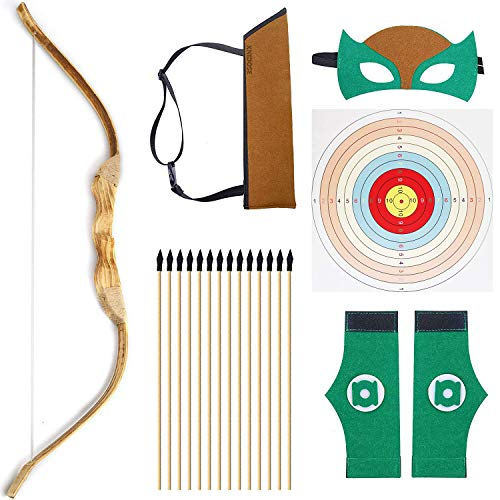"""KNIDOSE Beginners Bow and Arrow For Kids - 35 Pc Archery Set Outdoor or Indoor  Wooden 32"""" Bow, 15 Safety Rubber Tip 18"""" Arrows, 15 Target Sheets, 1 Quiver, 2 Wristband, 1 Mask for Cosplay Costume Toy"""