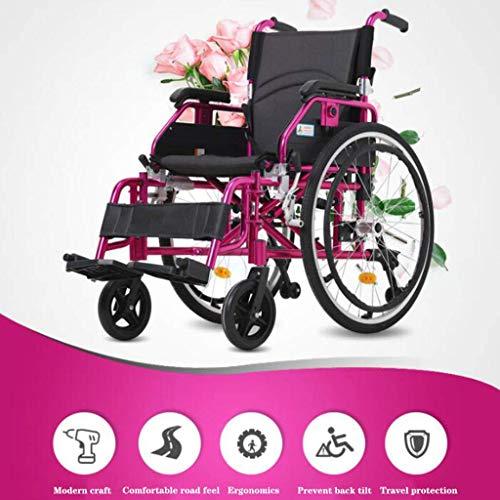BOC Selbstfahr zusammenklappbarer Rollstuhl, Hand Tragbarer Rollstuhl, ältere Behinderte Trolley, Aluminiumlegierung Rollstuhl, Rollstuhl-Handbremse, Schwarz,Schwarz