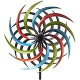 matches21 Windrad Windmühle Gartendeko Windspiel Metall Gartendeko Stab geschraubt gegenläufig bunt 1 STK - 48x20x185 cm
