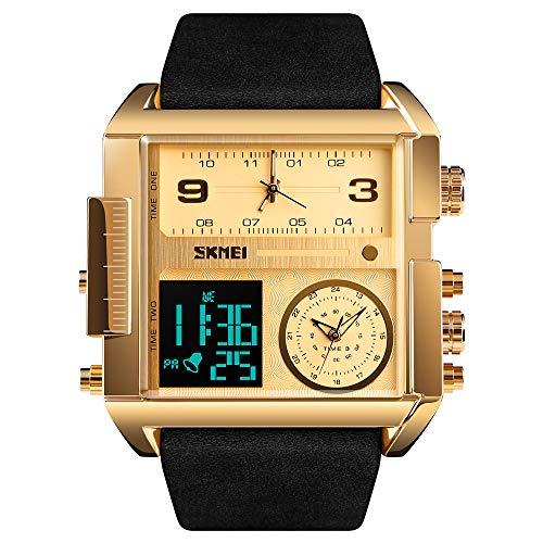 SKMEI Men's Digital Sports Watch, LED Square Large Face Analog Quartz Wrist Watch with Multi-Time Zone Waterproof Stopwatch (Golden Black)