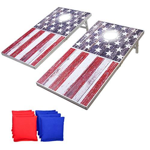 GoSports LED Amerikanische Flagge Cornhole Set Regulationsgröße