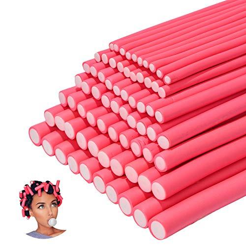 70 pezzi aste bigodino in schiuma senza calore rulli flessibili per arricciare i capelli multi dimensioni strumenti per lo styling dei capelli rimbalzanti fai da te per parrucchiere(rosa,7 dimensioni)